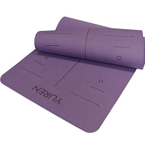 YUREN TPE Yogamatte 185 cm X 80 cm Breit Extra Dick 10mm Pilates Hatha Cardio Lasergeschnitzt Alignment Mandala öko Gymnastikmatte inkl Tasche&Gurt