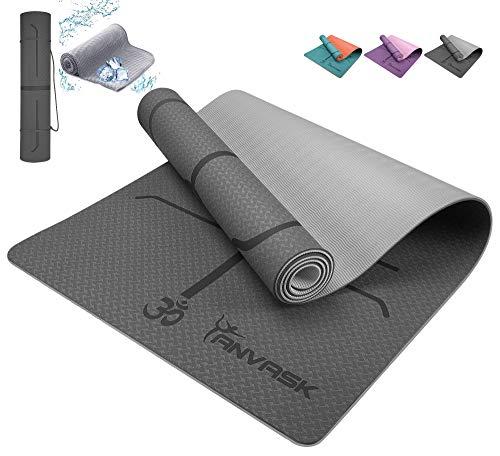 ANVASK Yogamatte rutschfest Sportmatte für Training Pilates Gymnastik, TPE schadstofffrei gymnastikmatte turnmatte mit yogaline, Naturkautschuk fitnessmatte 183 * 61 * 0.6cm