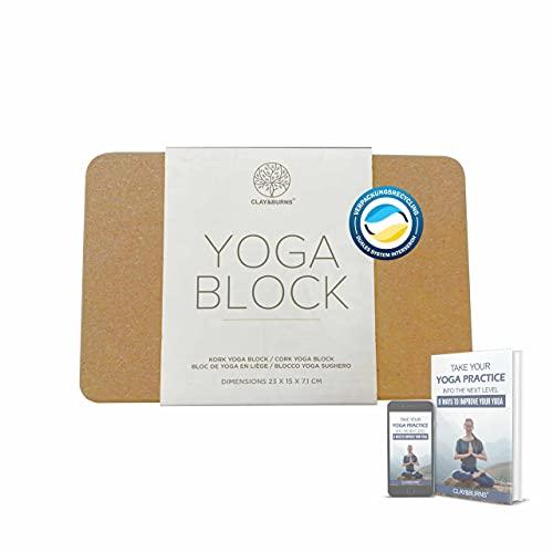 CLAY&BURNS® Yogablock aus Natur Kork | Yoga Block Kork | Yogaklotz Kork| 100% Naturkork | Korkblock für Yoga, Pilates und Fitness | Hatha Korkklotz