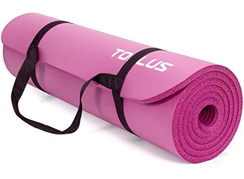 TOPLUS Verdickte Gymnastikmatte Phthalatfreie Yogamatte rutschfest und gelenkschonend Sportmatte für Yoga Pilates Sport mit praktischem Trageband Pilatesmatte 183 * 61 * 1 cm (rosarot)