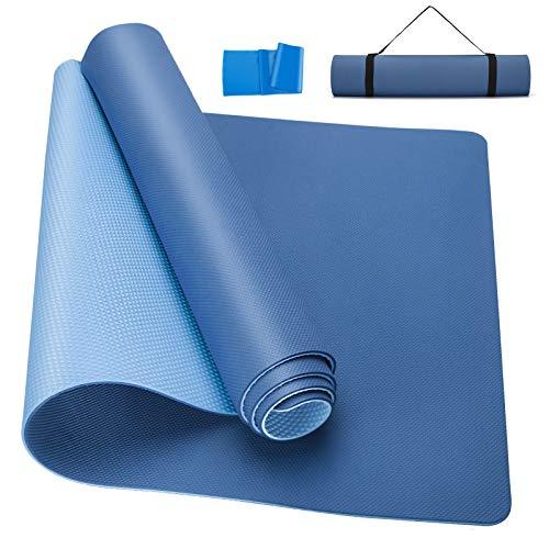 Gaosaili Yogamatte, Classic Pro Fitnessmatte, TPE, umweltfreundlich, rutschfest, leichte Matte mit Tragegurt, für Yoga, Meditation, Pilates und Gymnastik, 183 x 61 x 0,6 cm (blau)