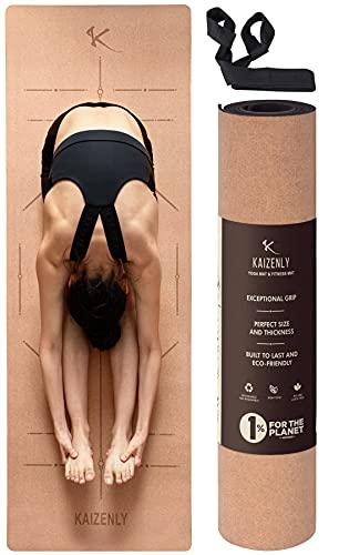 KAIZENLY Yogamatte Rutschfest - Naturkork, Umweltfreundlich - Yoga Matte Kork & TPE mit Tragegurt - Korkmatte für Yoga, Pilates & Fitness - Yoga Mat (183 x 61 x 0,5 cm)