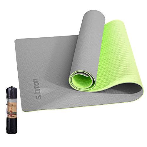 s.lemon Rutschfest Yogamatte mit Tasche &Tragegurt 6mm TPE Sports Fitness Gymnastik Yoga Matte 183 x 61 x 0.6 CM