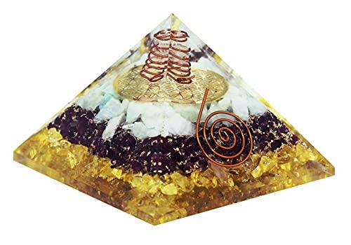 Orgone-Geld-Pyramide, positiver Energiegenerator fördert Wohlstand und Reichtum mit grünem Aventurin, rotem Granat und Citrin – Reiki-Heilchakra, ausgleichender Orgonit-Kristall – Yoga-Meditationsset