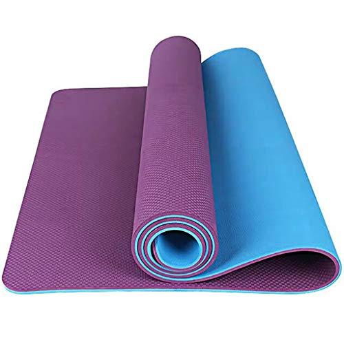 YXJBD Matte für Yoga TPE Thick Yoga-Matte Anti-Rutsch-Übungs-Training for vermeiden Sore Knees yogamatte naturkautschuk (Color : Deep Purple, Size : 185x80x1cm)
