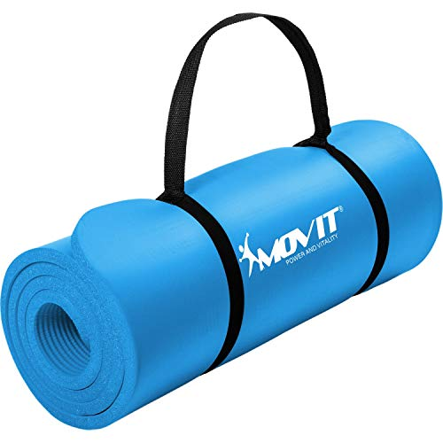 Movit Pilates Gymnastikmatte, Yogamatte, phthalatfrei, 183 x 60 x 1,0cm, Yoga Matte in Himmelblau