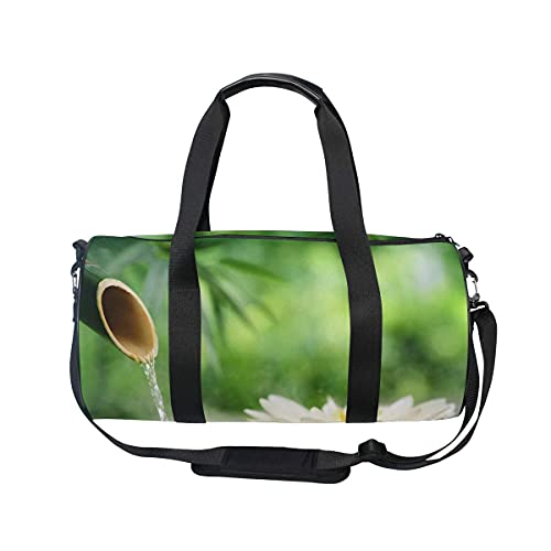 Gym Duffle Bag, Spa Bambus Brunnen Lotus Schwimmen Sport Reise Gym Tasche mit Schuhfach & Nassfach für Damen oder Herren
