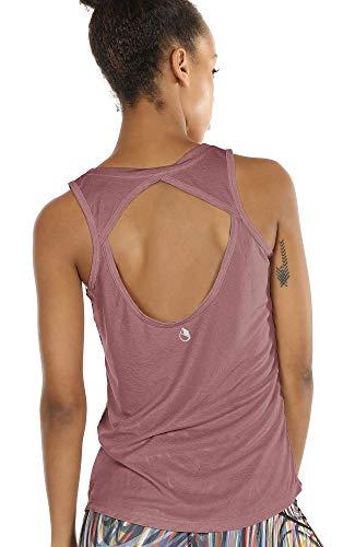 icyzone Damen Yoga Sport Tank Top - Rückenfrei Fitness Shirt Oberteil ärmellos Training Tops (M, Mocha