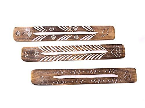 Luxflair Exklusives Set aus 3 Räucherstäbchenhalter handgefertigt, braun aus Sheeshamholz zum Abbrennen von Räucherstäbchen