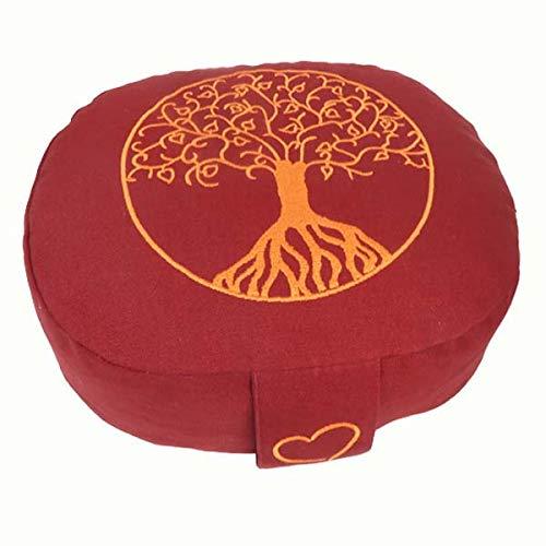 maylow Yoga mit Herz Yogakissen Meditationskissen oval Blume des Lebens oder Baum des Lebens Reise Kinder waschbar separates Innenkissen Bio-Dinkelspelzen - (buddhistisch rot / Baum des Lebens)