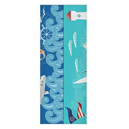 Yoga Handtuch Cartoon Wellen und Schiffe Yoga Matte rutschfest dick super weich rutschfest Yoga Schweißtuch geeignet für Beach Fitness Park Yoga und Pilates 73x27 Zoll