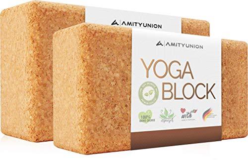 Yoga Block 2er SET Kork 100% Natur - Hatha Klotz auch für Anfänger Meditiation & Pilates, Fitness Zubehör...