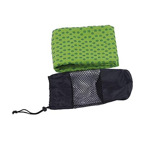 Buachois Yoga Handtuch Mikrofaser rutschfeste Yogamatte Handtücher mit Aufbewahrungstasche Pflaumenmuster Weiche Yoga Saugfähige Gymnastikdecke 185cmx63cm 4 Farben(Grün)