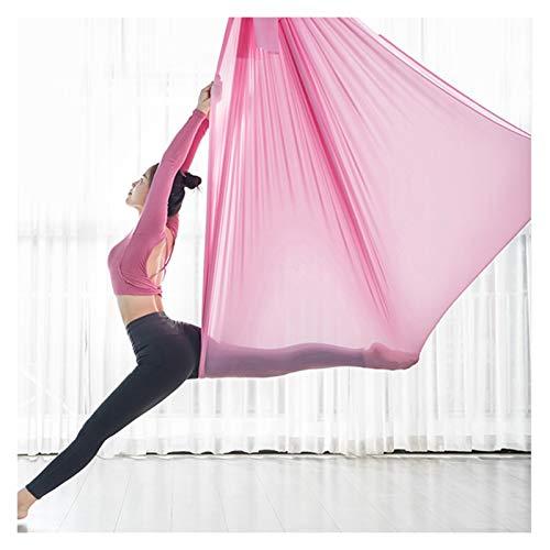 LHHL Therapieschaukel Kinder Yoga DIY Silk Pilates Premium Aerial Silks Equipment Aerial Yoga Tuch Aerial Silk Elastische Yoga Hängematte Mit Stoff Zubehör (Color : Pink, Size : 5x2.8m)