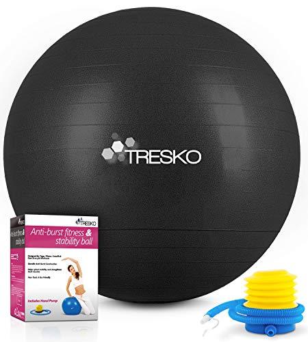 TRESKO Gymnastikball mit GRATIS Übungsposter inkl. Luftpumpe - Yogaball BPA-Frei | Sitzball Büro | Anti-Burst | 300 kg,Schwarz,55cm (für Körpergröße unter 155cm)