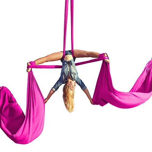 Aerial Silk Anfänger-Set – Akrobatische Flying Dance Yoga Trapeze Hängematte Schaukel inkl. 9 Meter Antennen-Tricot Stoff, Hardware & Anleitung geeignet für Rigging Point bis zu 3,7 m, hot pink, Yards