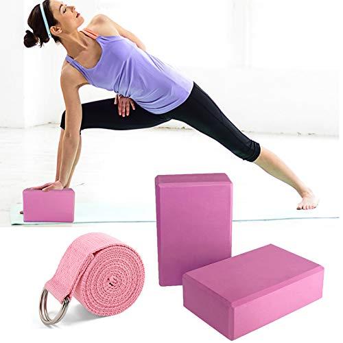 Yoga Block & Yoga Gurt, 3er Yogablock Yogagurt für Yoga Pilates Training, Hochwertige Yoga Blöcke/Yoga Klötze, perfekt für Yoga, Pilates Meditiation, für Anfänger und Fortgeschrittene, Rosa (Rosa)