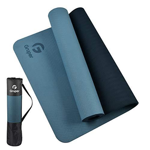 Gruper TPE Yogamatte, Pro Yogamatte, umweltfreundlich, rutschfest, mit Tragegurt, Trainingsmatte für Yoga,...