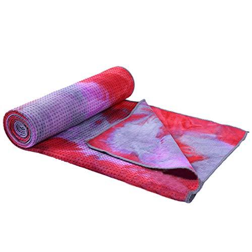 Ivyday Rutschfestes Yogatuch (183 * 63 cm) Übungs-Yogamatten-Abdeckungshandtuch Strandtuch,Qian Hong
