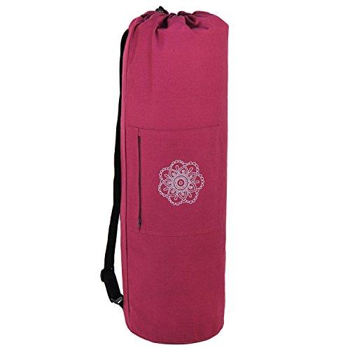SURYA BAG COTTON Yogatasche groß, (nicht nur) für Schurwollmatten, 100% Baumwolle, aubergine, XL-Format für Yogamatten mit 60cm, 75cm, oder 90cm Breite, extra big (145 ml (1er Pack))