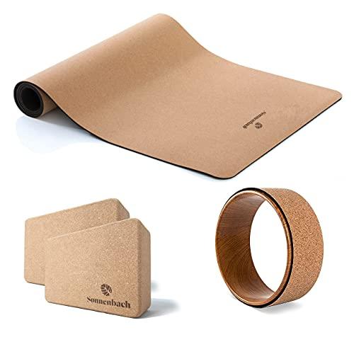 Sonnenbach Yoga Set Kork - Starter Pack 4-teilig - 2X Yogablock, Yogamatte, Yogaring - Homesport, Meditationsset, Joga Pack, Geschenkidee