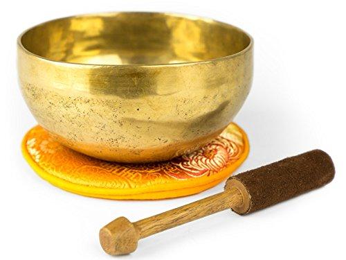 Tibetische Klangschale mit Zubehör (400), traditionell in Handarbeit in Nepal hergestellt für Meditation,...