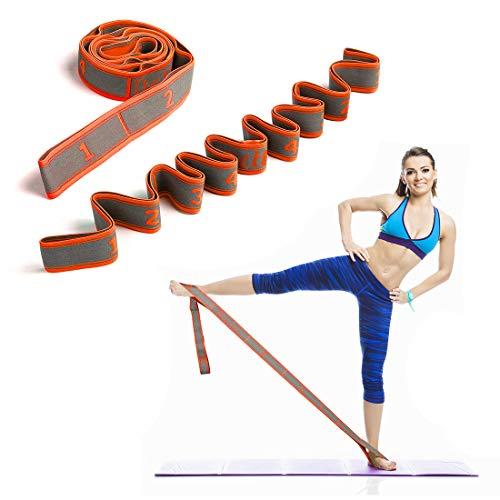 DeHub Yoga Set, Yoga Stretch Gurt mit 8 Schleifen, Waschbarer, Leicht zu Tragender und Hochelastischer Gymnastik-Gur, Ideal für Heißes Yoga, Körperliche Therapie, Größere Flexibilität. (Orange)