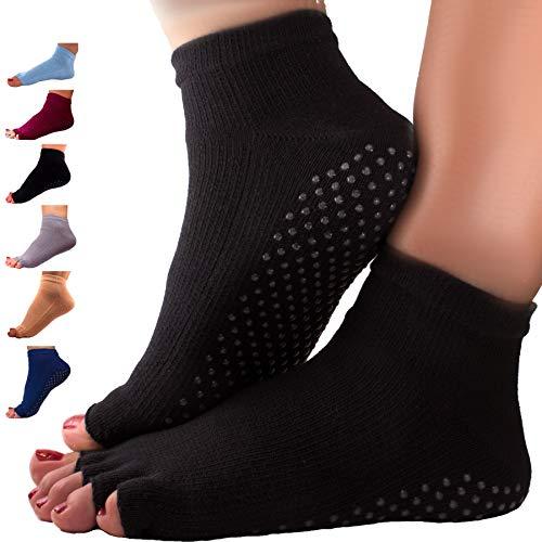 GERNEO® - DAS ORIGINAL - 1er Pack Premium Yoga Socken offen - Pilates Socken und Fitness Socken - zehenfreie Füsslinge - schwarz
