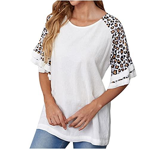 Tshirt Damen Kurzarm Tops Rundhals Oberteile Lässige Lose Leopard Kurzarm Tshirt Damen Basic Täglich Tee Shirt Spitze Tunika Sommer Sportshirt Hemdbluse