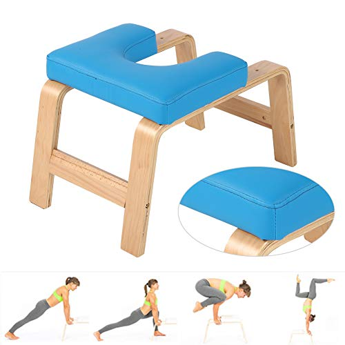 AYNEFY Yoga Kopfstand-Hocker,Yoga-Hocker Yoga Handstand Bench Stand Yoga Stuhl Yoga Inversion Stuhl Blau Holz...