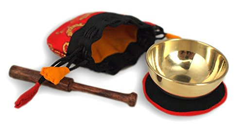 Miniklangschale in rotem Beutel, inkl. schwarz/roter Unterlage und Holzklöppel