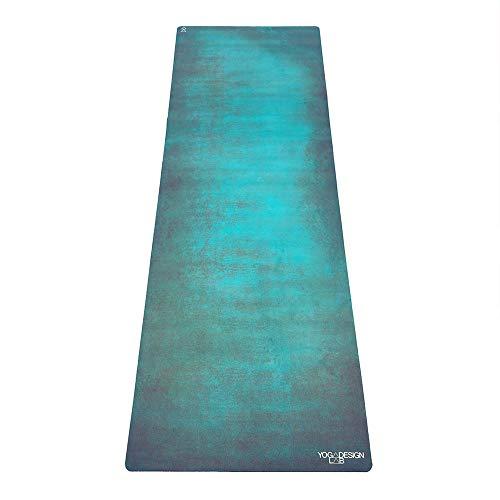 Yoga Design Lab Combo Yogamatte | rutschfest, Matte/Handtuch, Guter Halt bei viel Schweiß, Naturkautschuk | mit Tragegurt (Aegean Green, 5.5mm)