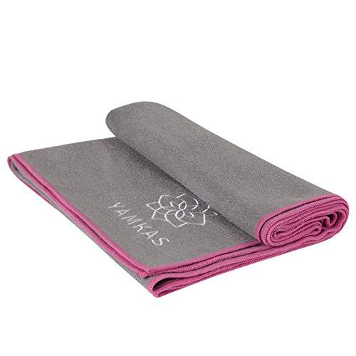 Yamkas Yoga Handtuch rutschfest für Yogamatte • Mikrofaser • 183 x 61 cm • Antirutsch Tuch Schnelltrocknend • Saugfähig • Yogatuch für Yoga Pilates Gymnastik un Mehr • Grau