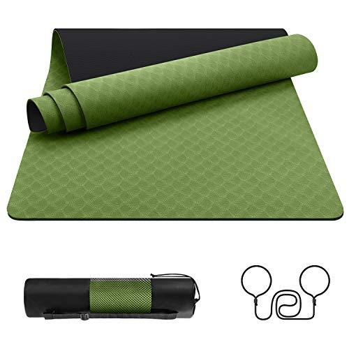 EgoIggo Yogamatte Sportmatte rutschfest, Gymnastikmatte aus umweltfreundlichem TPE, Übungsmatte mit Tragegurt/Tasche, Trainingsmatte für Yoga Pilates Gymnastik Fitness 183x61x0.6 cm Grün