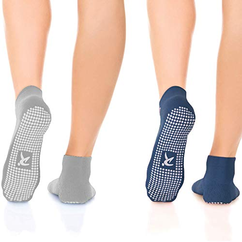 rutschfeste Anti Skid Grip Socken (2Paar) (perfekt für Pilates, Yoga, Barre, Dance, Martial Arts,...