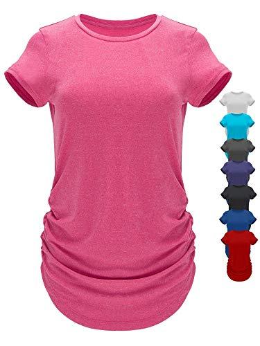 GO HEAVY Damen Multifunktions Fitness Lauf T-Shirt Kurzarm Yoga Gym Sportshirt Rundhals Feutigkeitsabsobierend...