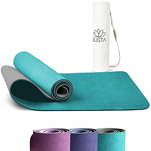 SUSTA – Premium Yogamatte rutschfest – Inkl. Tragegurt&Tragetasche - schadstofffrei&nachhaltig aus TPE - wasserabweisend - Fitnessmatte für Training,Pilates&Yoga [183x61x0,6cm]