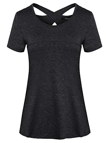 iClosam Damen T-Shirt Schnell Trocken Fitness Yoga Top Laufen Funktionsshirt