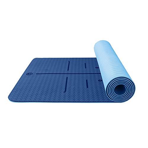 L&Y Rutschfeste Bewegungs-Yogamatten Für Zuhause, 6Mm 1/4 Zoll Dicke TPE-Frau-Fitness-Übungsmatte Mit Tragegurt | Perfekt Für Pilates, Gym | Lila, 183 * 80Cm,F