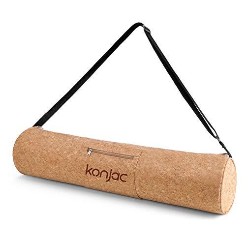 konjac Yogatasche Kork, Yogamattentasche Yoga-Tragetasche mit Beuteltaschen, Tasche für Yogamatten...