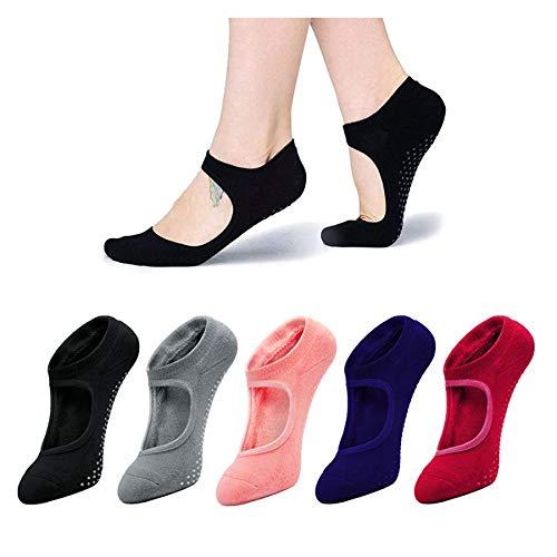 SFIGUR Yoga Scken, 5Paare Abs Socken Damen, Antirutschsocken für Pilates, Yoga, Barre, Tanz, Ballett, Kampfsport, Trampolin, Fitness