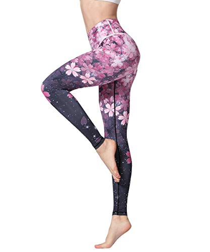 HAPYWER Yoga Leggings Damen High Waist Gym Sport Leggings Tummy Control Yoga Hosen Running Workout Kompressionsstrumpfhose Stretch Trainingshose mit Aufdruck(Kirschblüte,S)