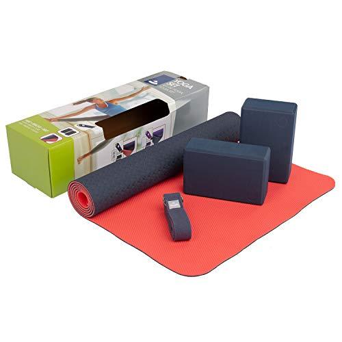 Bodhi Yoga Starter-Set Komplett   Set bestehend aus: 1 Yogamatte aus TPE, 2 Yoga-Bricks aus Eva (Moosgummi) und 1 Yoga-Gurt aus Baumwolle   Einsteiger-Set für Yoga-Anfänger
