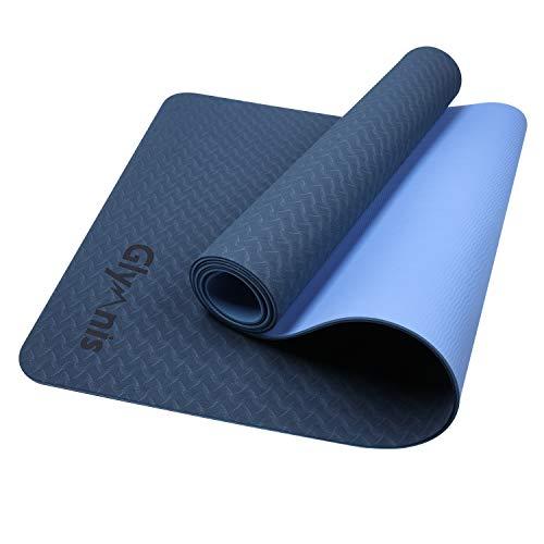 Glymnis Yogamatte Gymnastikmatte aus TPE rutschfest Übungsmatte Fitnessmatte für Yoga Pilates Fitness mit...