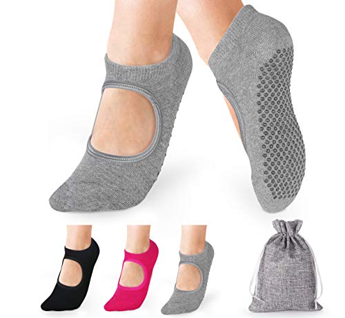 Anstore Yoga Socken rutschfeste für Damen, 3 Paare Yoga Pilates Sock Ideal für Fitnes, 38-45