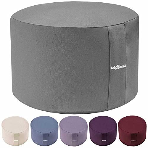 Body & Mind® Yogakissen Meditationskissen Boden Sitz-Kissen Polster für Meditation & Yoga; waschbarer Bezug und atmungsaktiver Premium Füllung; 18 cm Sitzhöhe (Grau)