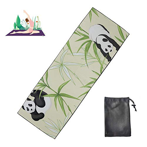 WYYWCY Gymnastik-Trainingsmatte Riesenpanda mit grüner Bambus-Hot-Yoga-Matte Mikrofaser Superweich und...