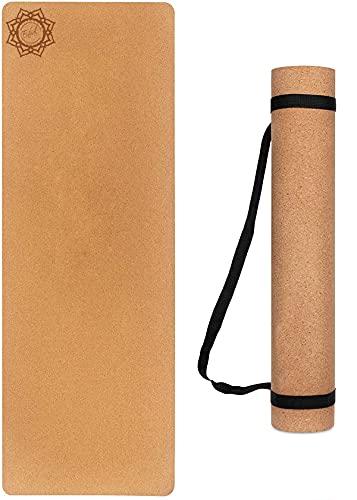 Enhal® Premium | Kork Yoga-Matte | Gymnastik Fitness Sport Extra Rutschfest mit TPE | Pilates Mat mit Tragegurt | 183 x 61 x 0,6cm | Extra hohe Dichte und niedriges Gewicht