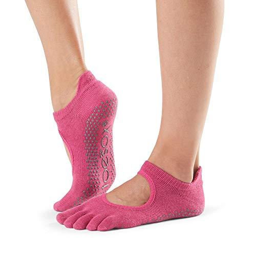 Toesox Unisex-Erwachsene Full Toe Bellarina Yoga-Socken, Rosa (Raspberry), S