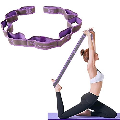 Yoga Stretching Band Yoga Stretch Gurt/Stretchgurt/Gymnastikband mit 8 Schleifen/Fitness Pilates Physiotherapie Stretch Gurt/lila